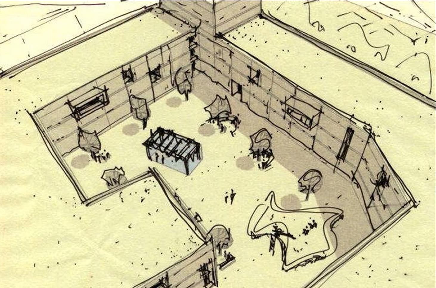Tibilisi_courtyard sketch_oblique